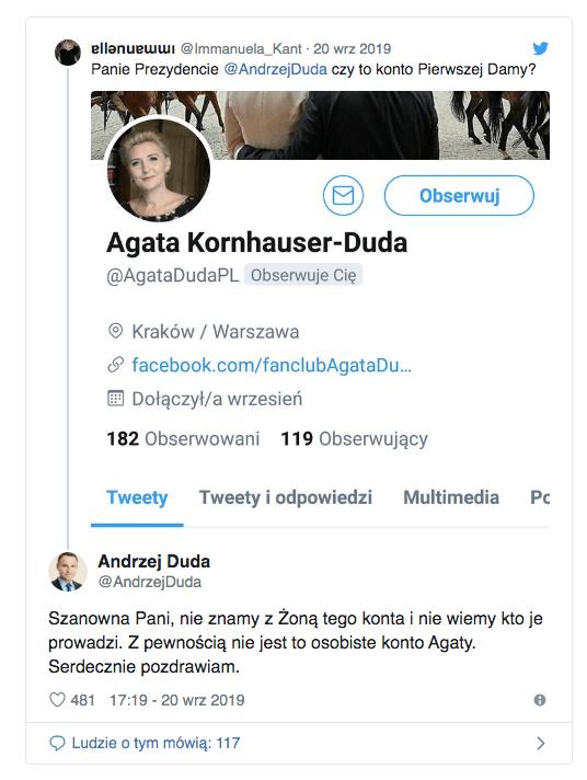 Agata Kornhauser-Duda na Twitterze