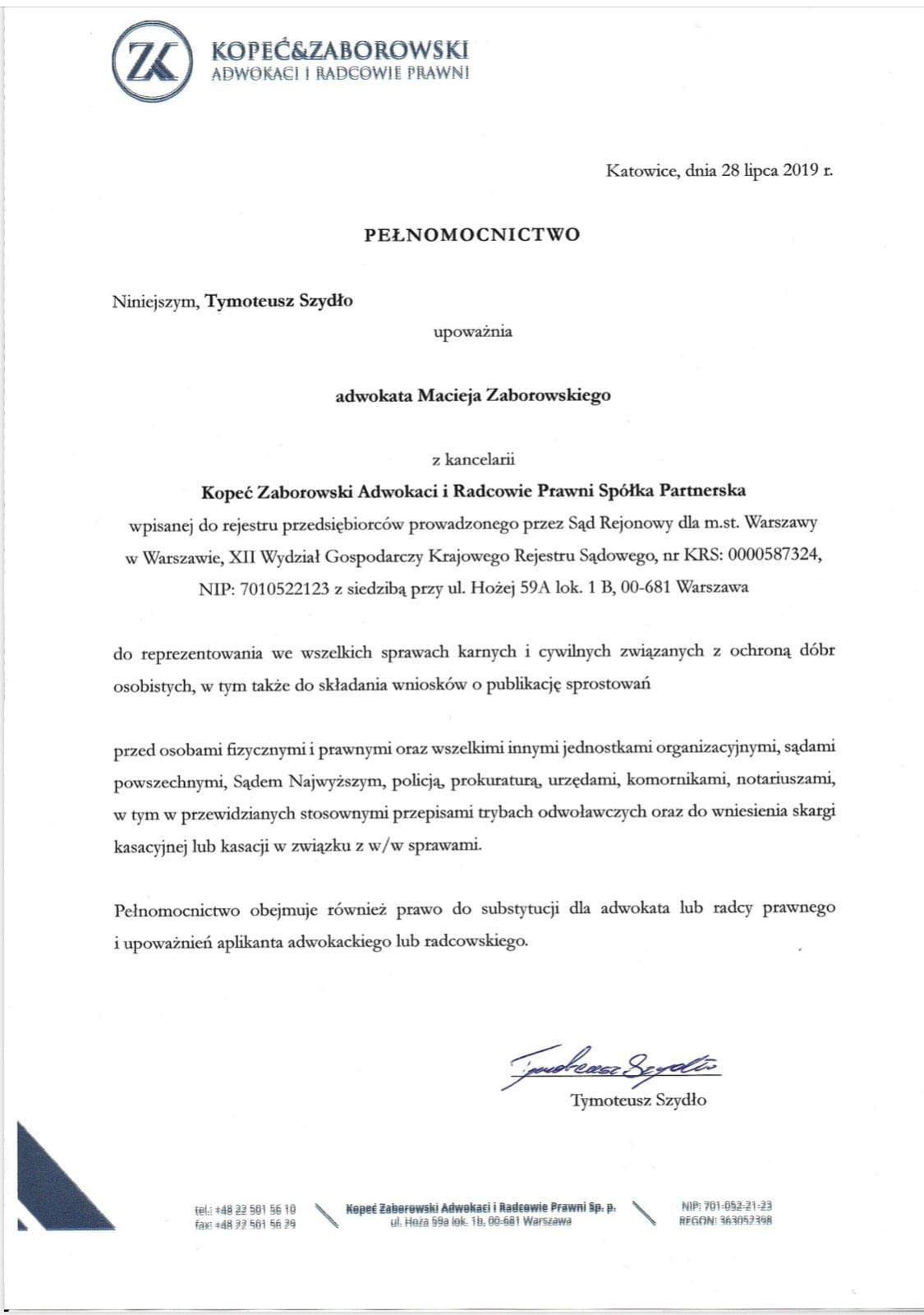 Pełnomocnictwo Tymoteusz Szydło