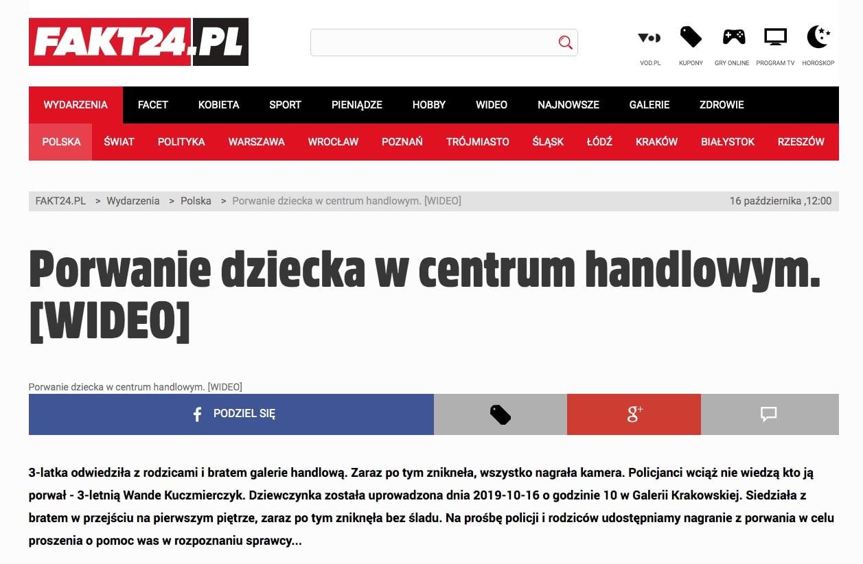porwanie dziecka galeria krakowska