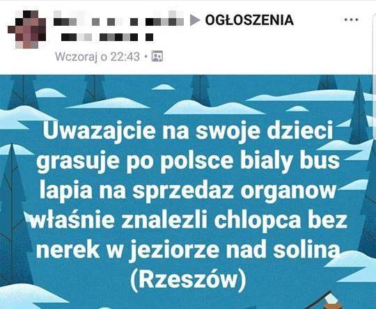 biały bus porywa dzieci