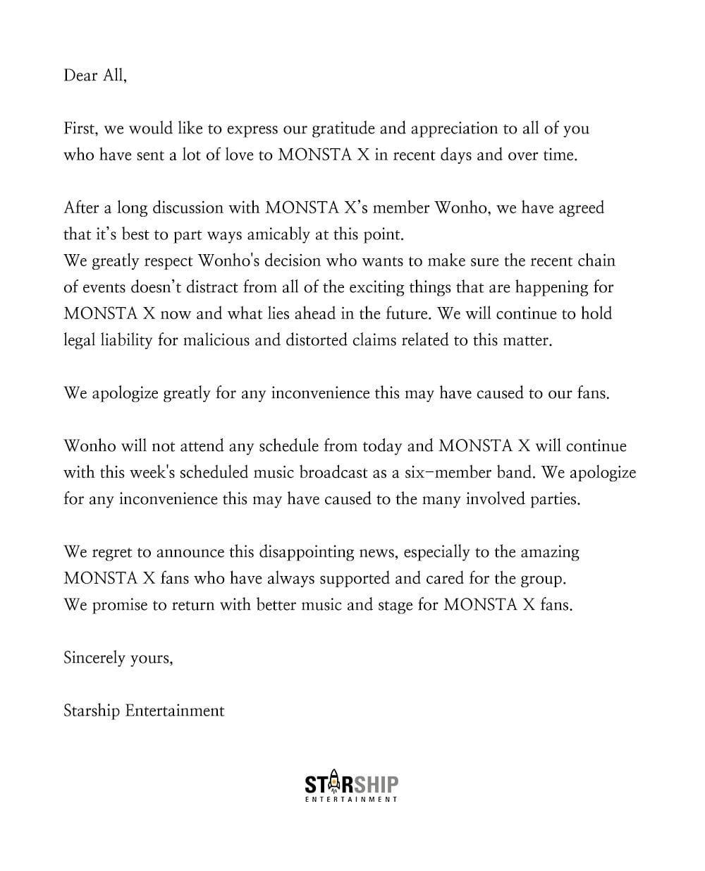 Wonho opuszcza Monsta X