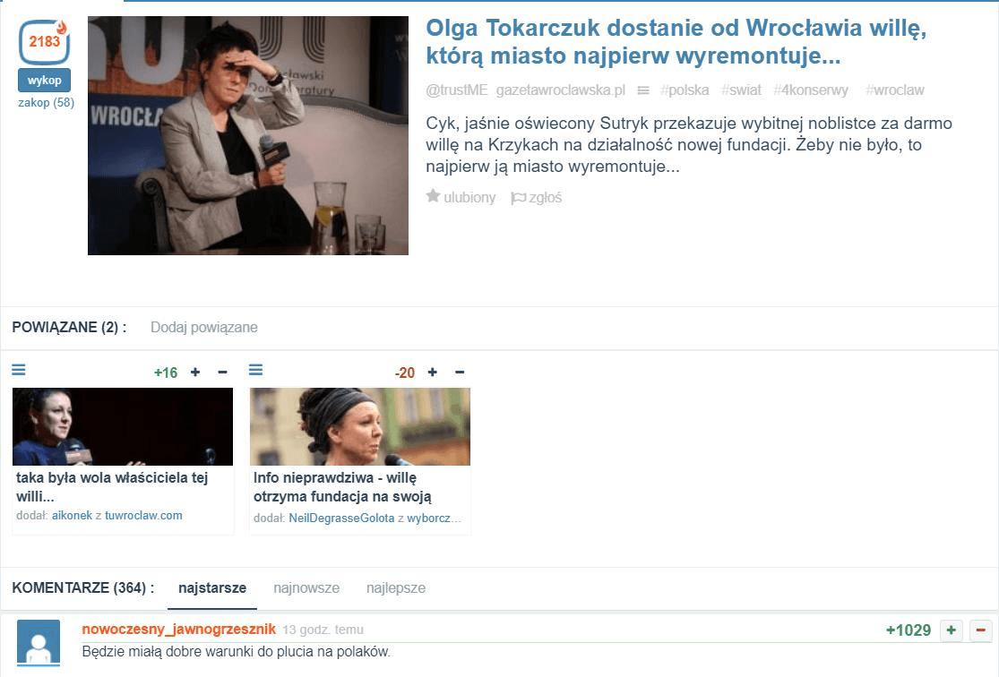 Olga Tokarczuk dostanie willę