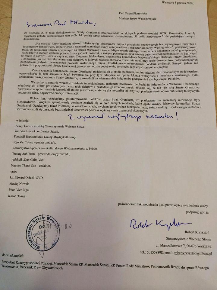 List otwarty do Ministra Spraw Wewnętrznych