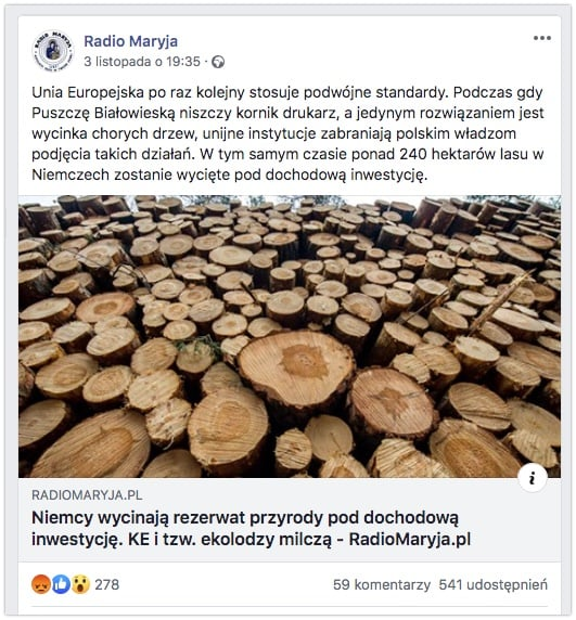 Radio Maryja - 240 hektarów lasu wycięte