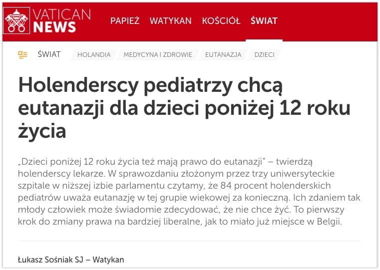 84 procent pediatrów chce eutanazji