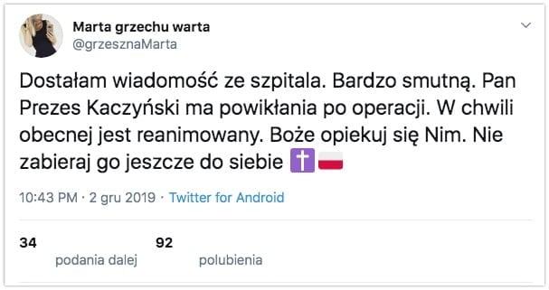 Jarosław Kaczyński powikłania