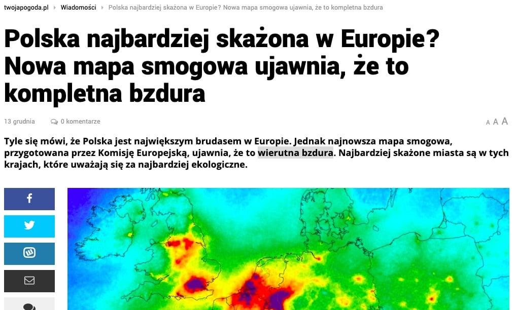 Nowa mapa smogowa - Twojapogoda.pl