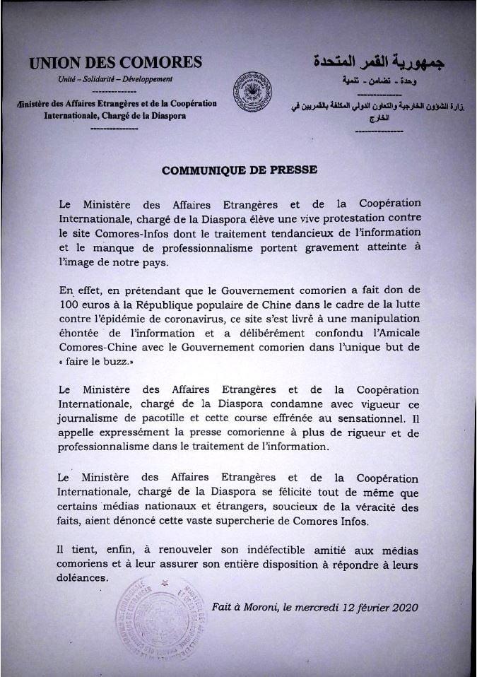 Komory - Oświadczenie prasowe