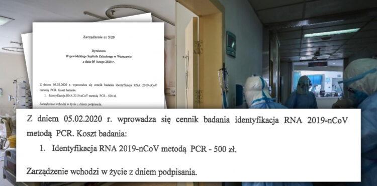 Czy badanie na koronawirusa kosztuje 500 złotych?