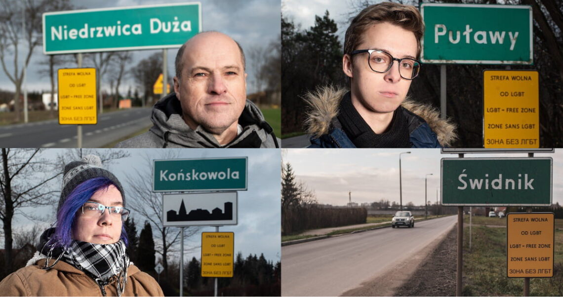 """Czy żółte tabliczki """"strefa wolna od LGBT"""" wiszą w polskich miastach? Wyjaśniamy."""