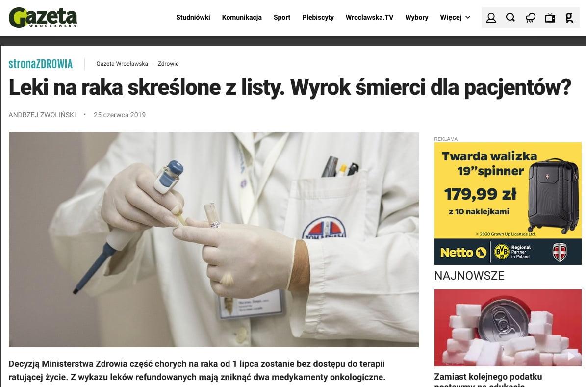 Gazeta Wrocławska - Leki na raka