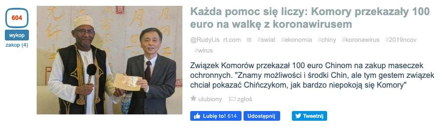 Komory przekazały 100 euro - Wykop.pl