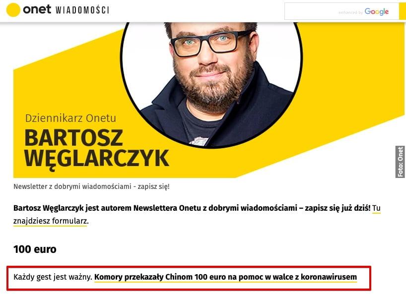 Komory przekazały 100 euro - Onet.pl