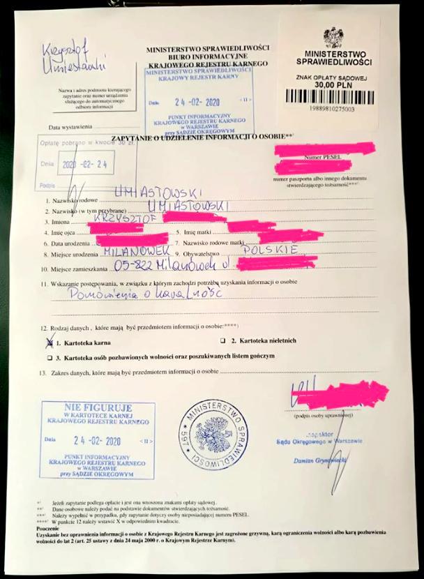 Krzysztof Umiastowski nie został skazany prawomocnym wyrokiem - Zaświadczenie