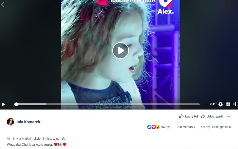 Wnuczka Charlesa Aznavoura - Facebook