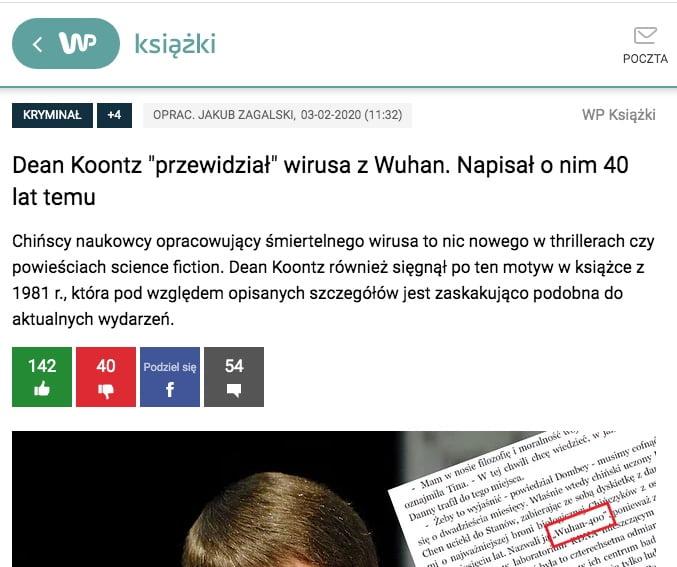 Wirtualna Polska - Dean Koontz przewidział koronawirusa
