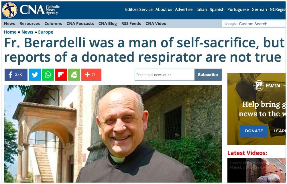 ksiądz nie oddał respiratora - Crux