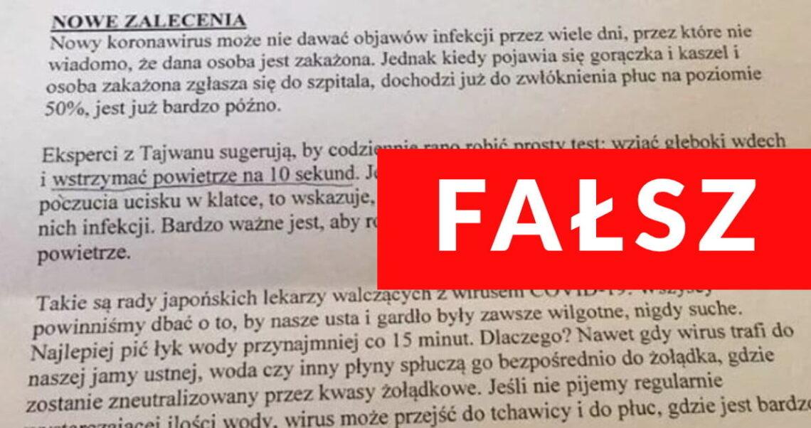 """Analiza fałszywego dokumentu """"Nowe Zalecenia"""" dot. koronawirusa"""
