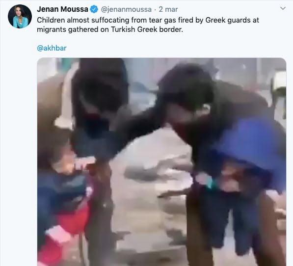Imigranci gaz łzawiący - Pierwszy Tweet