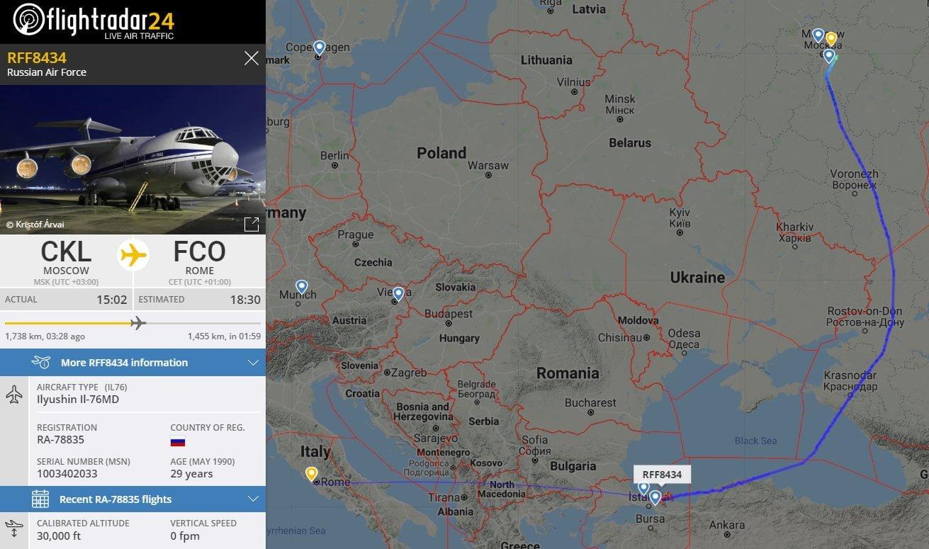 Trasa rosyjskiego samolotu