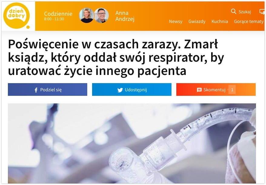 ksiądz oddał respirator