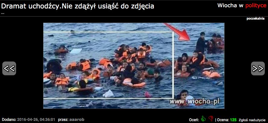 zdjęcie tonących uchodźców ustawione