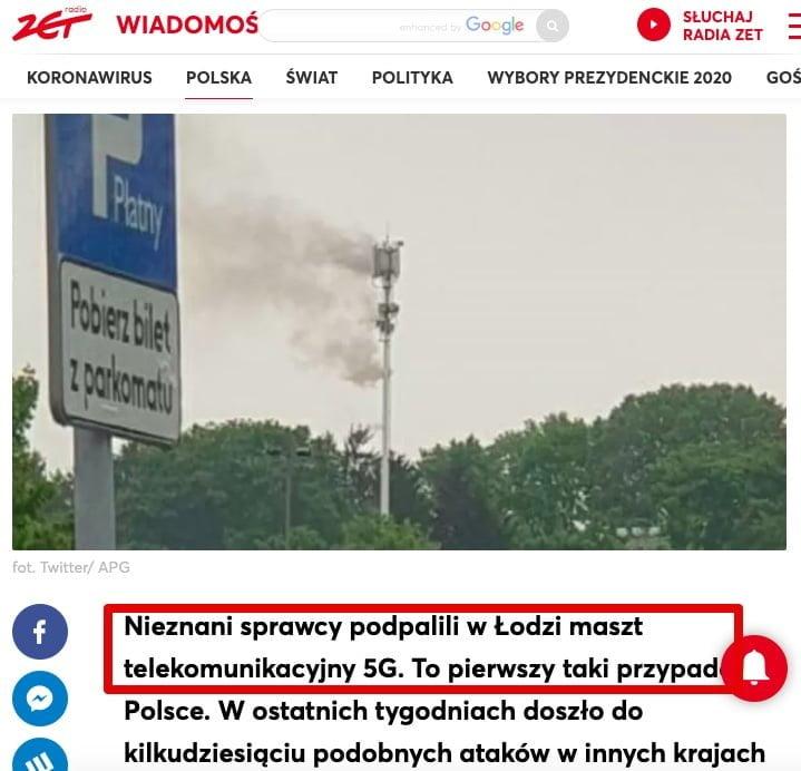 Podpalono maszt sieci 5G w Łodzi