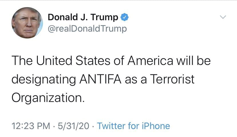 trump antifa tweet