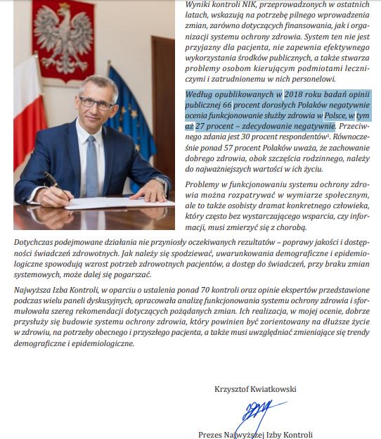 NIK Polacy służba zdrowia