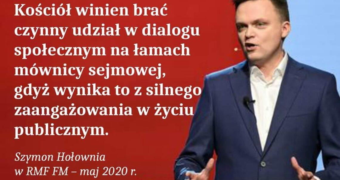 Szymon Hołownia nie powiedział, że kościół powinien brać czynny udział w dialogu na łamach mównicy sejmowej