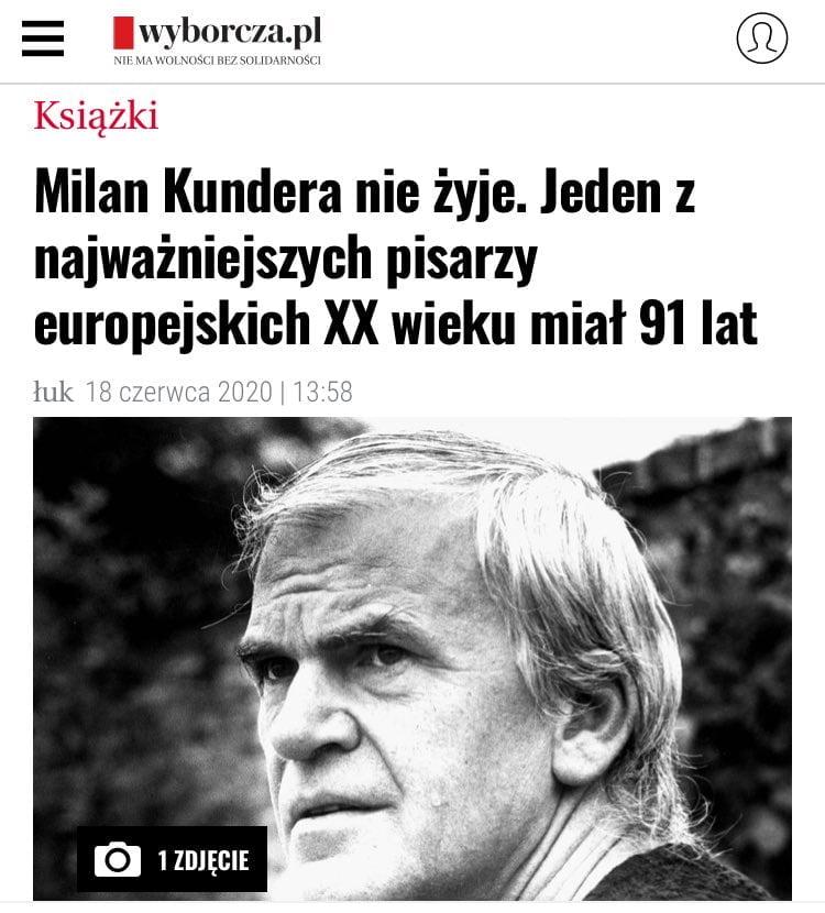 Milan Kundera nie żyje / Gazeta Wyborcza