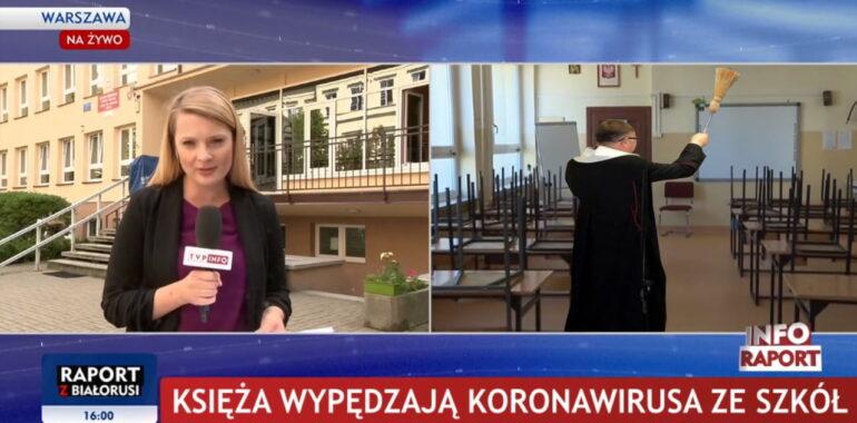 TVP: księża wypędzają koronawirusa ze szkół. To fotomontaż.