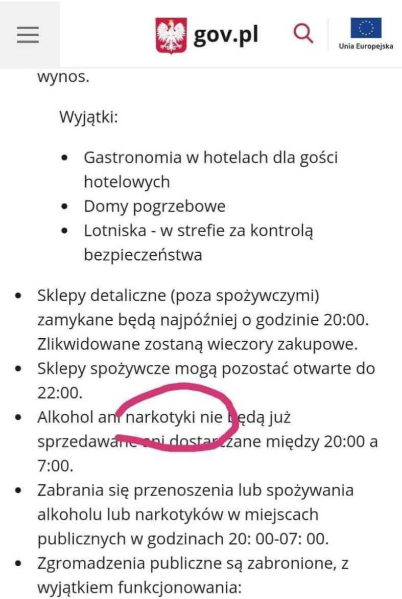 Narkotyki nie będą sprzedawane między 20:00 a 7:00