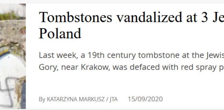 To nie są swastyki na żydowskim cmentarzu w Polsce.