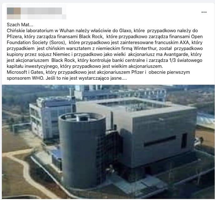 Chińskie laboratorium w Wuhan należy właściwie do Glaxo, które przypadkowo należy do Pfizera