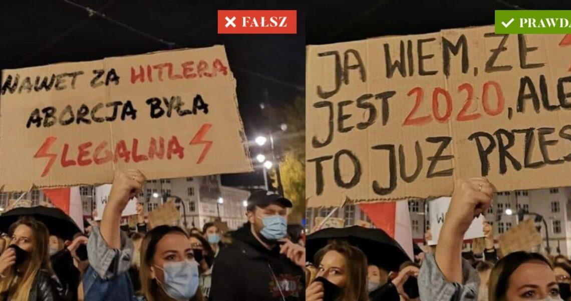 """""""Nawet za Hitlera aborcja była legalna"""" – To zdjęcie ze Strajku Kobiet to fotomontaż"""