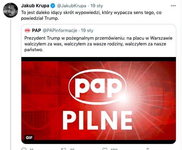 Jakub Krupa/ Trump / na placu w Warszawie walczyłem za was