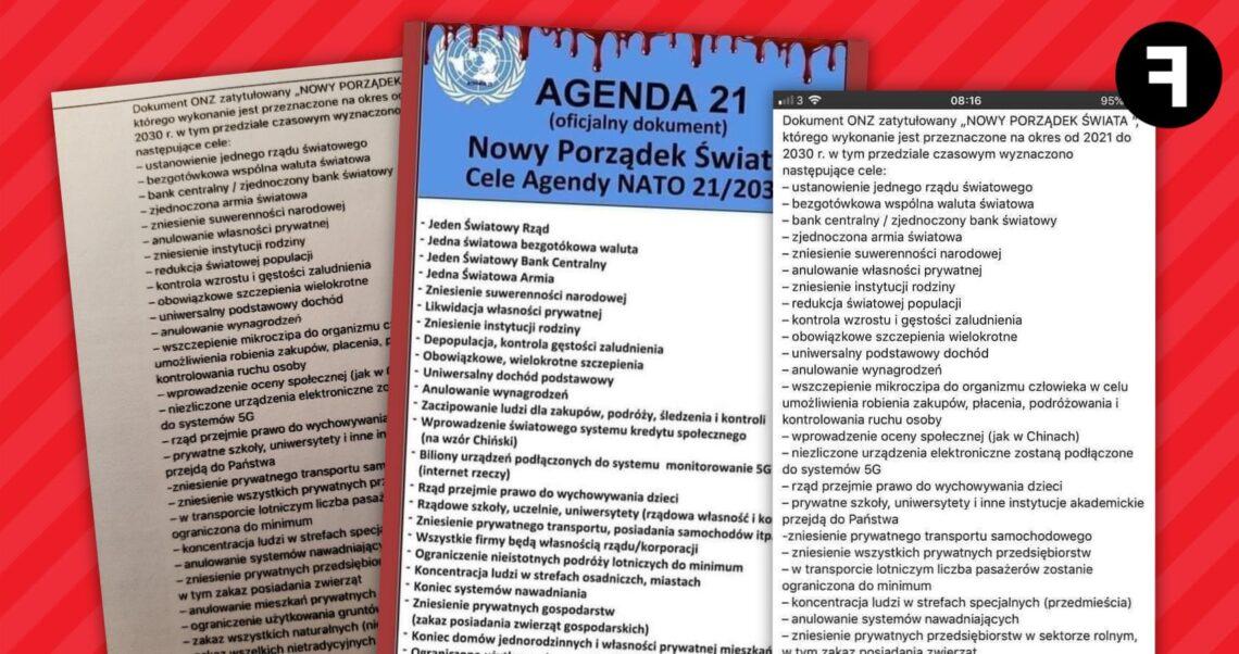 """Dokument ONZ zapowiada """"Nowy Porządek Świata""""? To fake news"""