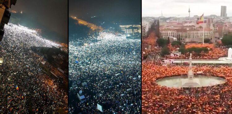 Nie, zdjęcia z Madrytu i Bukaresztu nie przedstawiają protestów przeciw obostrzeniom