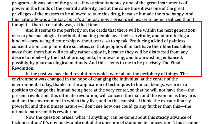 """Aldous Huxley """"W następnej generacji lub później powstanie farmakologiczna metoda"""""""