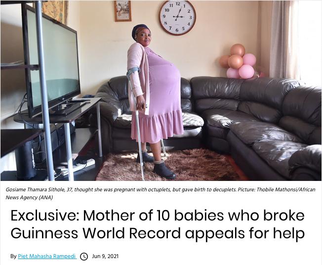 Nagłówek artykułu z prośbą matki o pomoc