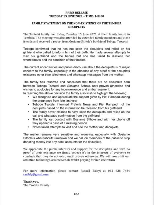 Oświadczenie rodziny Tsotesi