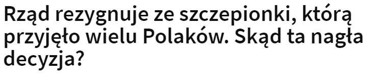 Polski rząd rezygnuje ze szczepionki AstraZeneca.