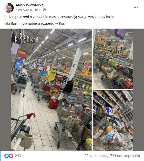 Ludzie proszeni o założenie masek w Rosji, zostawiają wózki sklepowe z zakupami w marketach.