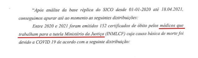 Fragment dokumentu wydanego przez Sąd w Lizbonie