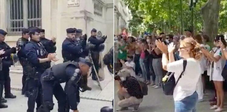 Nagranie policji bijącej brawa nie pochodzi z ostatnich manifestacji we Francji