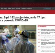 Czy w Portugalii tylko 152 pacjentów zmarło z powodu COVID-19?
