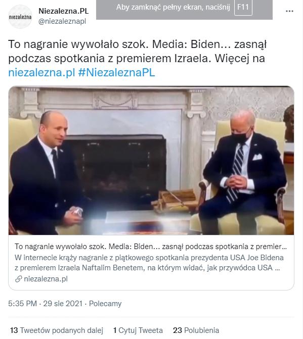 Joe Biden zasnął podczas spotkania z premierem Izraela