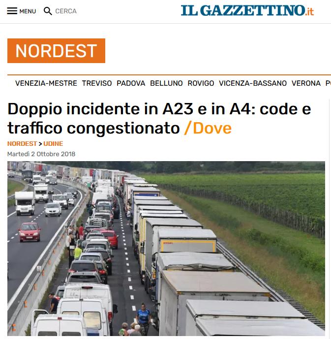 Blokada ciężarówek, Włochy - Korek po wypadku