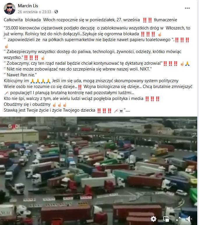 Całkowita blokada Włoch przez kierowców ciężarówek - Fałszywy post